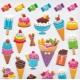 Stickers autocollants gommettes enfant food glaces