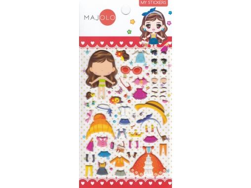 Autocollants fille stickers gommettes personnage poupée à habiller avec vêtements et accessoires